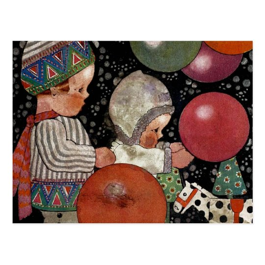 Vintage Children Birthday Party, Balloons and Toys Postcard