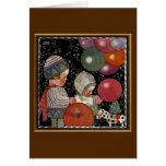 Vintage Children Birthday Party Balloons Fun Toys Greeting Card