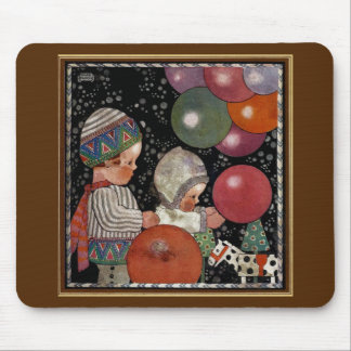 Vintage Children Birthday Party Balloons Fun Toys Mouse Pad