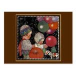 Vintage Children Birthday Party Balloons Fun Toys Postcard