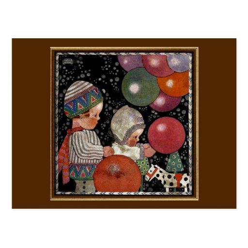 Vintage Children Birthday Party Balloons Fun Toys Post Cards