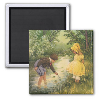 Vintage Children, Boy and Girl Playing by Creek 2 Inch Square Magnet