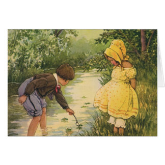 Vintage Children, Boy and Girl Playing by Creek Card