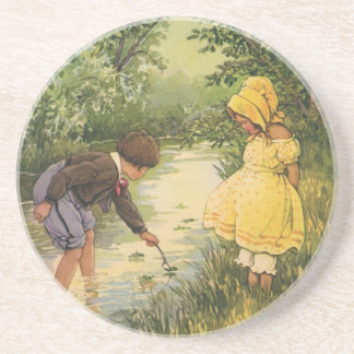 Vintage Children, Boy and Girl Playing by Creek Coaster
