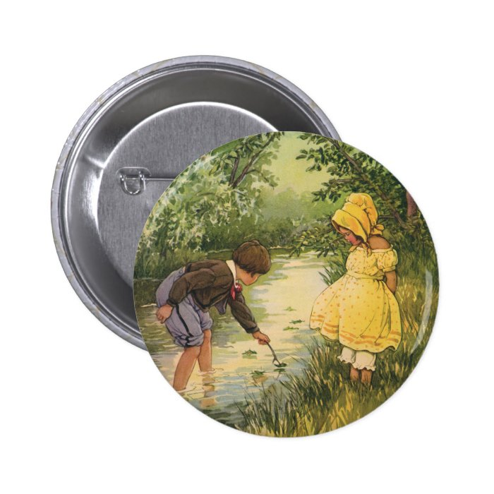 Vintage Children, Boy and Girl Playing by Creek Pinback Button