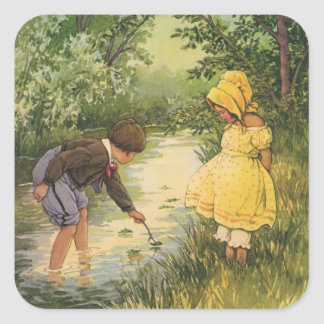 Vintage Children, Boy and Girl Playing by Creek Square Stickers