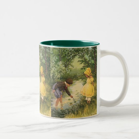 Vintage Children, Boy and Girl Playing by Creek Two-Tone Coffee Mug