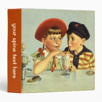 Vintage Children, Boy and Girl Sharing a Shake Binder