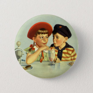 Vintage Children, Boy and Girl Sharing a Shake Button