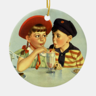 Vintage Children, Boy and Girl Sharing a Shake Ceramic Ornament