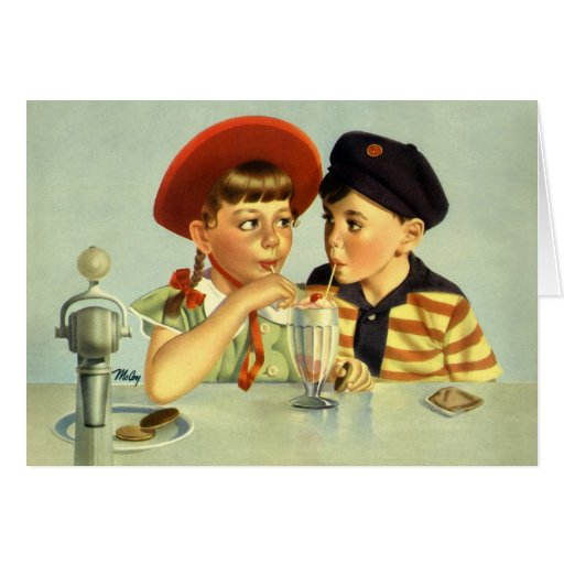 Vintage Children, Boy and Girl Sharing a Shake Greeting Card