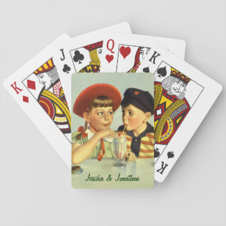 Vintage Children, Boy and Girl Sharing a Shake Playing Cards