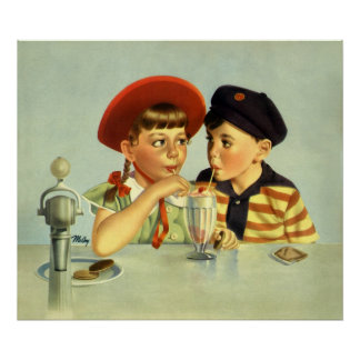 Vintage Children, Boy and Girl Sharing a Shake Poster