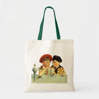 Vintage Children, Boy and Girl Sharing a Shake Tote Bag