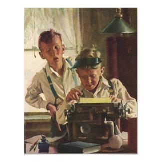Vintage Children Boy Newspaper Journalists, Writer 4.25x5.5 Paper Invitation Card