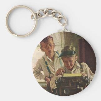 Vintage Children Boy Newspaper Journalists, Writer Keychain