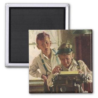 Vintage Children Boy Newspaper Journalists, Writer Magnet