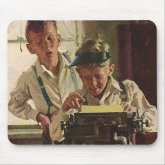 Vintage Children Boy Newspaper Journalists, Writer Mouse Pad