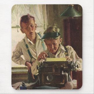 Vintage Children Boy Newspaper Journalists, Writer Mouse Pad