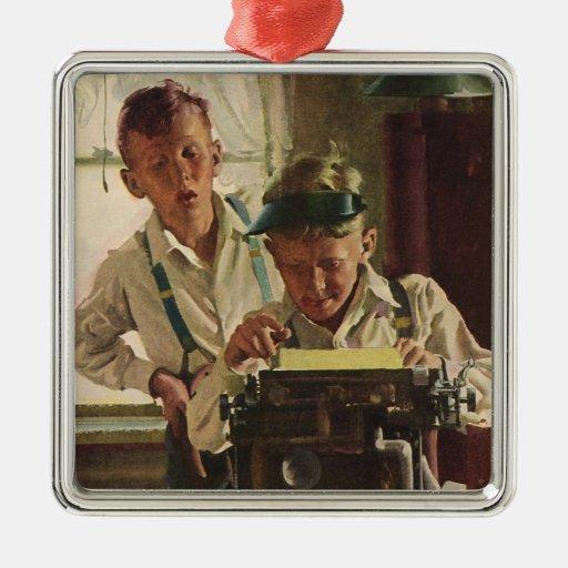 Vintage Children Boy Newspaper Journalists, Writer Christmas Ornaments