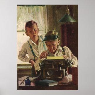 Vintage Children Boy Newspaper Journalists, Writer Poster