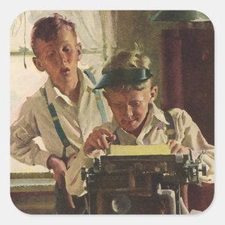 Vintage Children Boy Newspaper Journalists, Writer Square Sticker