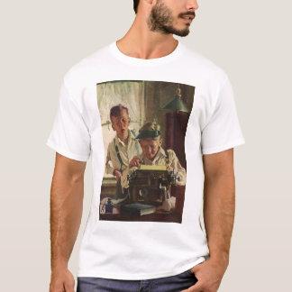 Vintage Children Boy Newspaper Journalists, Writer T-Shirt