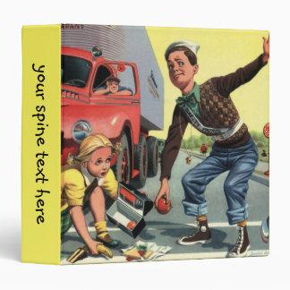 Vintage Children, Boy Safety Patrol Helping Girl Binder