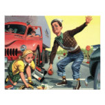 Vintage Children, Boy Safety Patrol Helping Girl Announcement