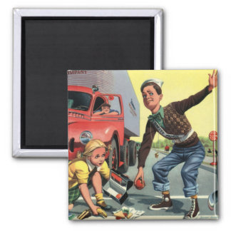 Vintage Children, Boy Safety Patrol Helping Girl Magnet