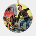Vintage Children, Boy Safety Patrol Helping Girl Christmas Tree Ornament