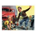 Vintage Children, Boy Safety Patrol Helping Girl Post Card