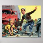 Vintage Children, Boy Safety Patrol Helping Girl Posters