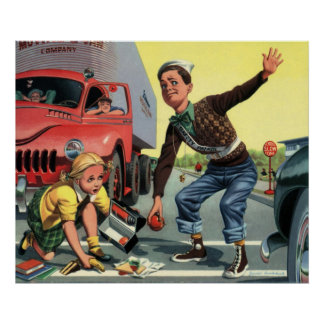 Vintage Children, Boy Safety Patrol Helping Girl Poster
