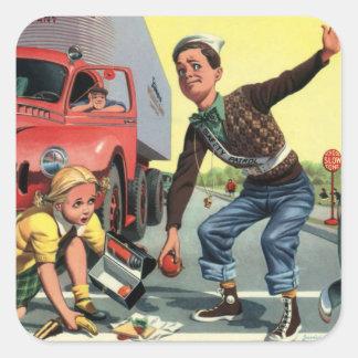 Vintage Children, Boy Safety Patrol Helping Girl Square Sticker