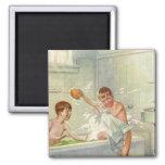 Vintage Children, Boys Brothers Splashing in Tub Magnet