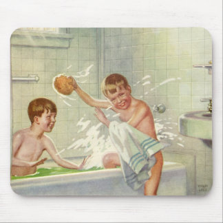 Vintage Children, Boys Brothers Splashing in Tub Mouse Pad