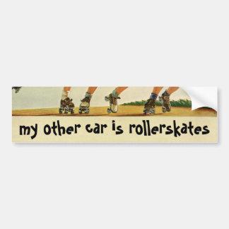 Vintage Children, Boys Girls Fun Roller Skating Car Bumper Sticker