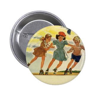 Vintage Children, Boys Girls Fun Roller Skating 2 Inch Round Button