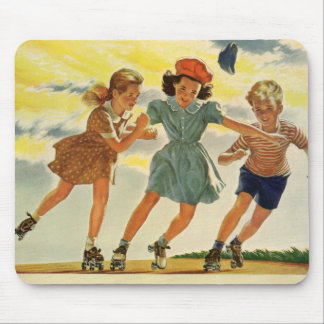 Vintage Children, Boys Girls Fun Roller Skating Mouse Pads
