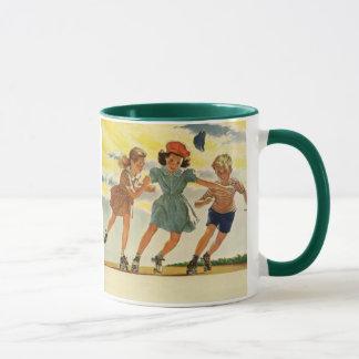 Vintage Children, Boys Girls Fun Roller Skating Mug