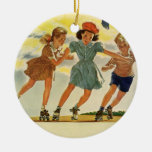 Vintage Children, Boys Girls Fun Roller Skating Christmas Ornament