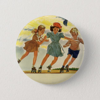 Vintage Children, Boys Girls Fun Roller Skating Pinback Button