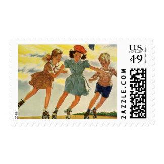 Vintage Children, Boys Girls Fun Roller Skating Stamps