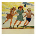 Vintage Children, Boys Girls Fun Roller Skating Posters
