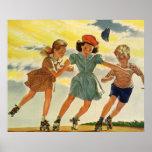 Vintage Children, Boys Girls Fun Roller Skating Print