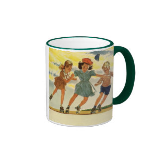 Vintage Children, Boys Girls Fun Roller Skating Ringer Mug