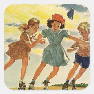 Vintage Children, Boys Girls Fun Roller Skating Sticker