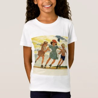 Vintage Children, Boys Girls Fun Roller Skating T-Shirt