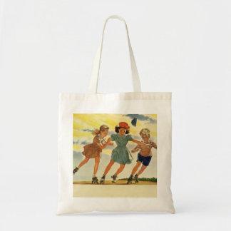 Vintage Children, Boys Girls Fun Roller Skating Tote Bag
